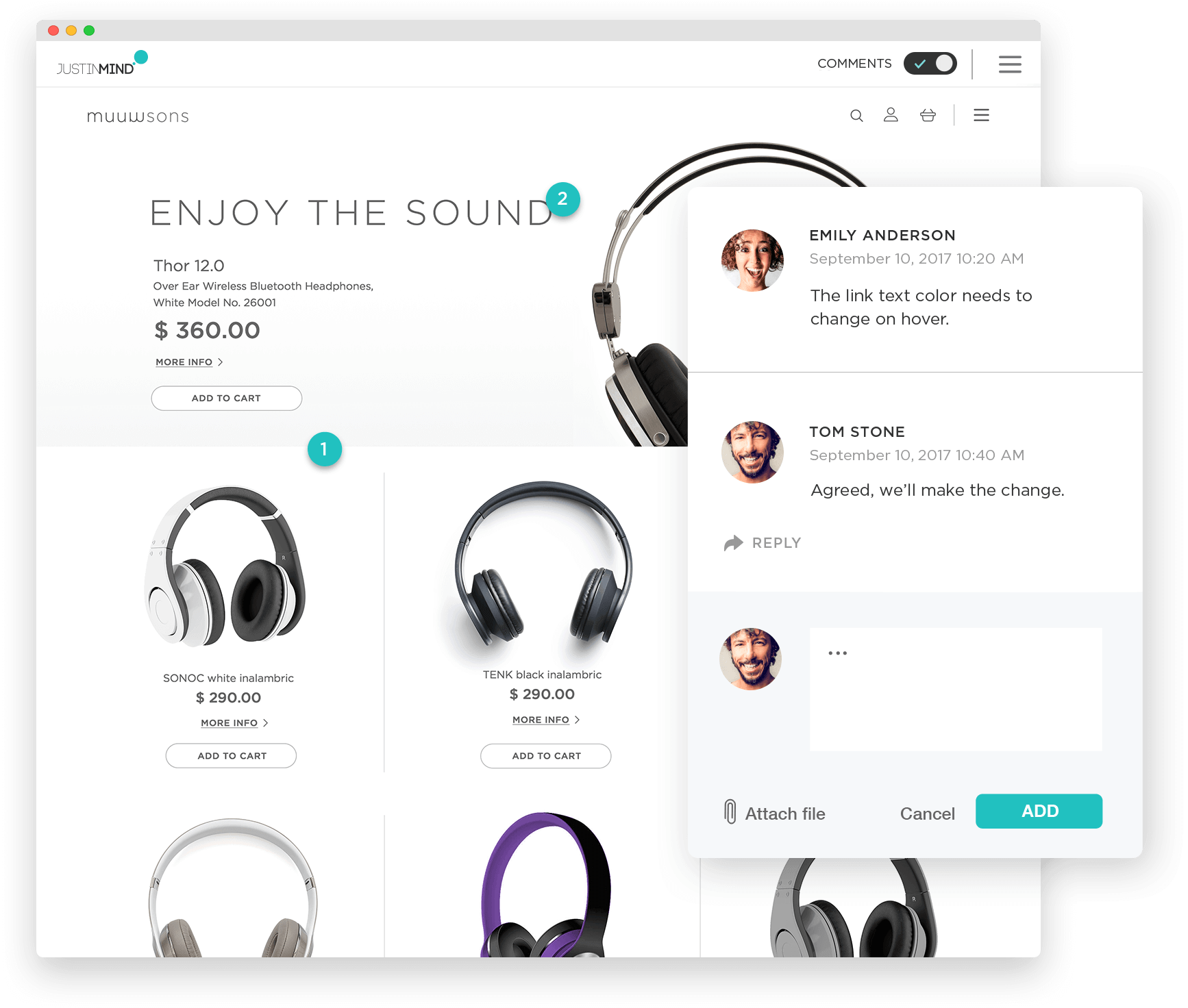 Add comments to app prototypes