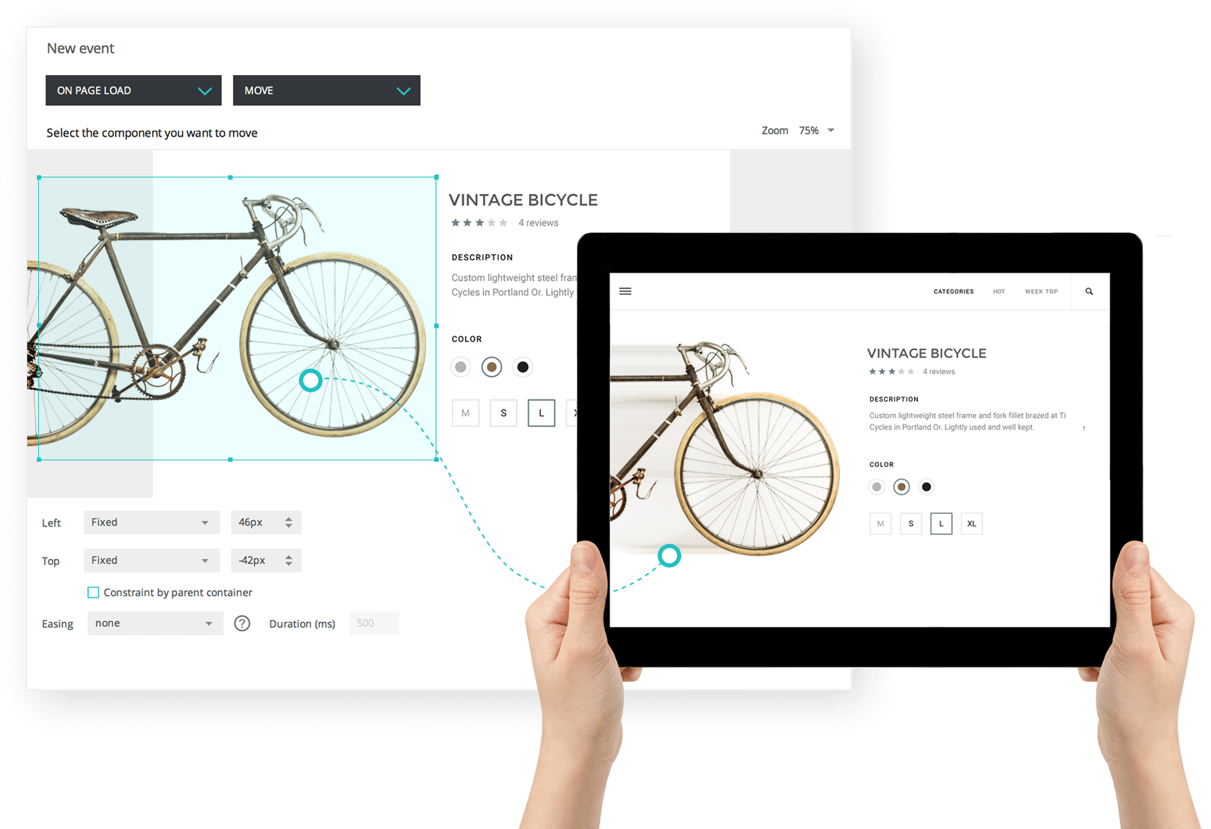 Clickable images and link interactions in wireframes