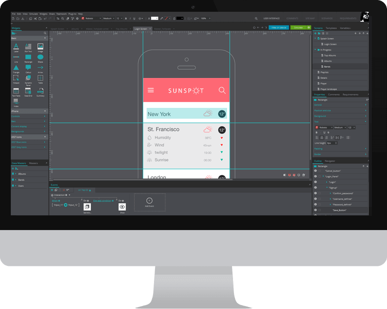 Interactive mockups for mobile apps