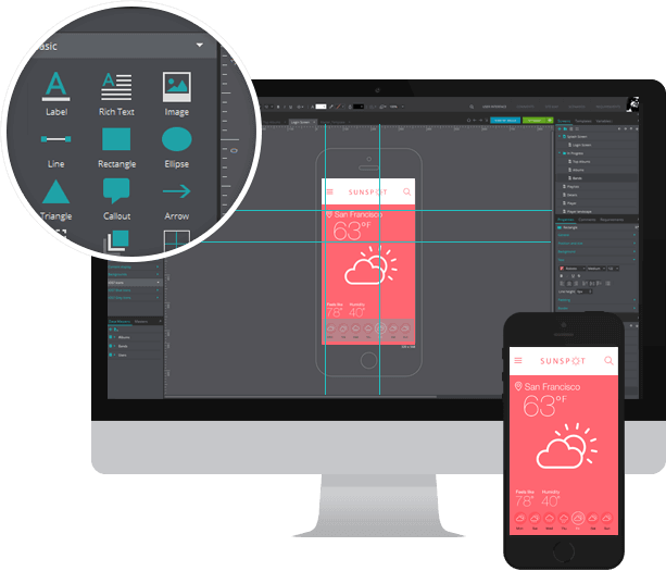 500+ widgets to create interactive wireframes