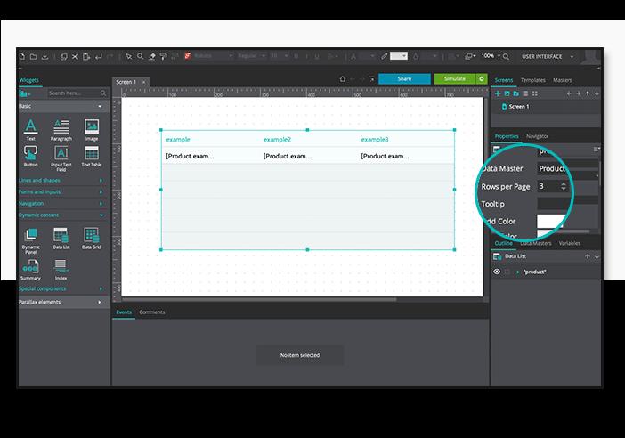 Data-driven prototyping: paginate data table