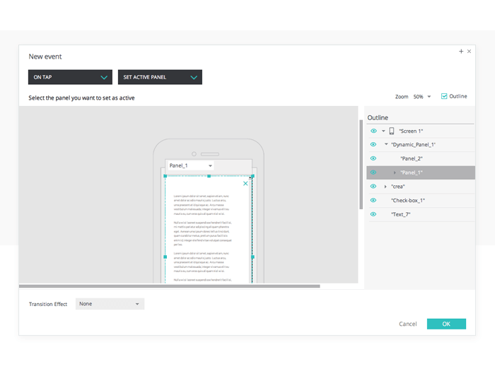Display dynamic content in your prototypes: events