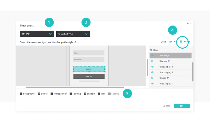 Interactive prototypes: Events dialog