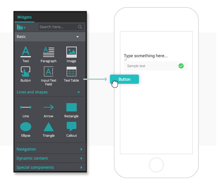 Interactive wireframe components