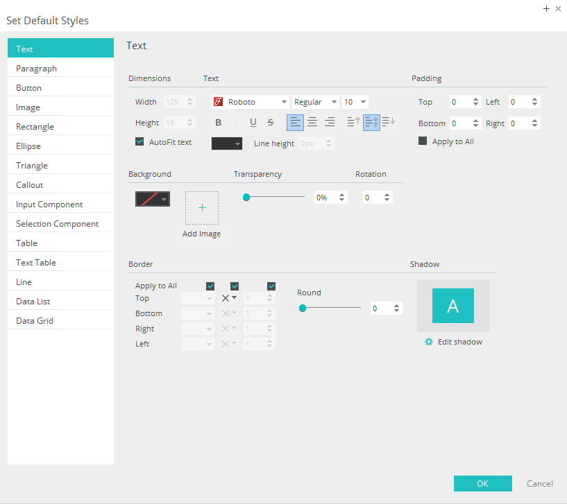 Set template style - Options