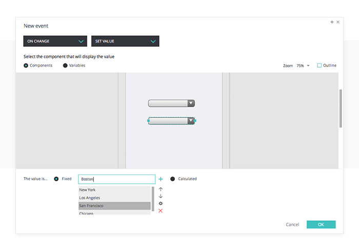 Add events to the select list in your UI prototype