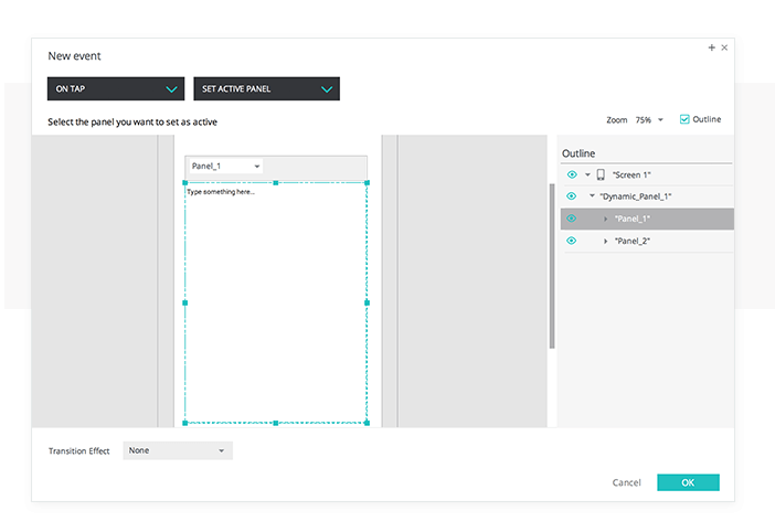 Change Text Value in your UI prototypes. Set active panel event