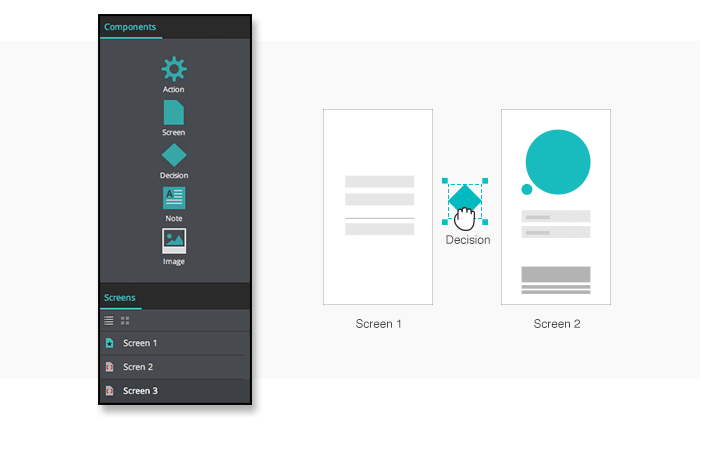 UI prototype scenario's components