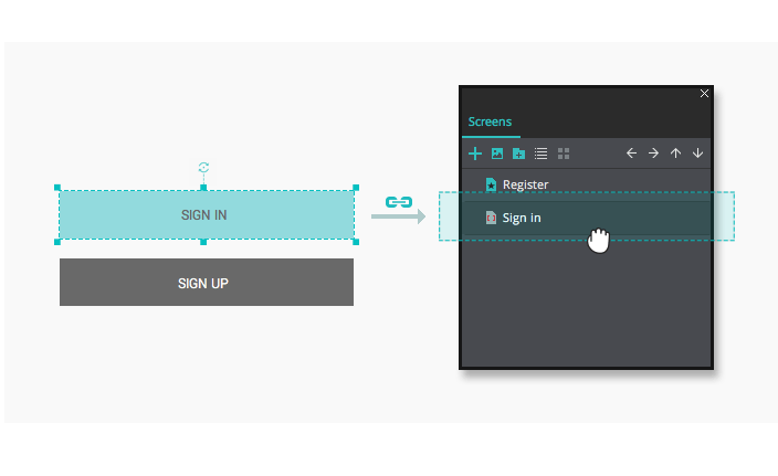 Create links in your interactive wireframes