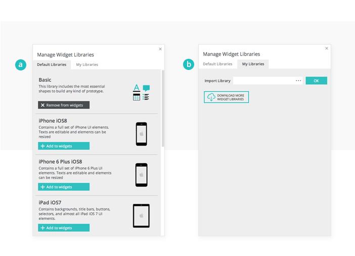 Default widget libraries in your prototyping tool