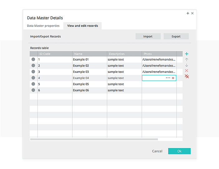 Data-driven prototyping: edit table records