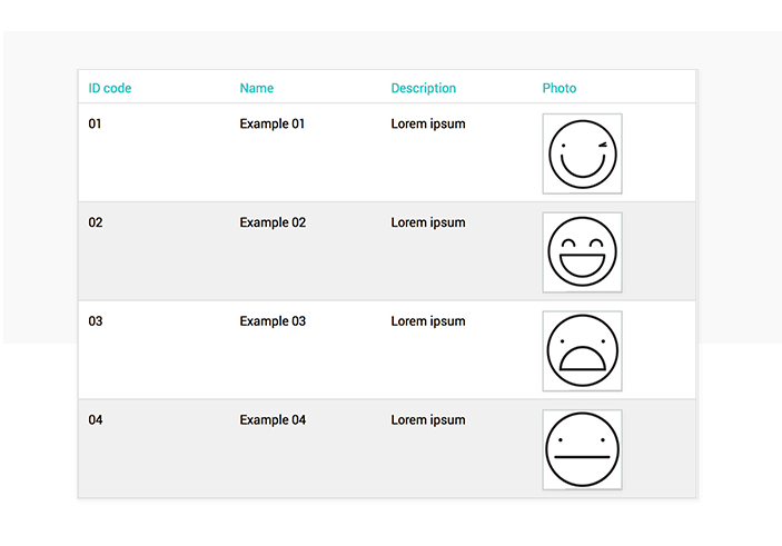 Data-driven prototyping: table data list