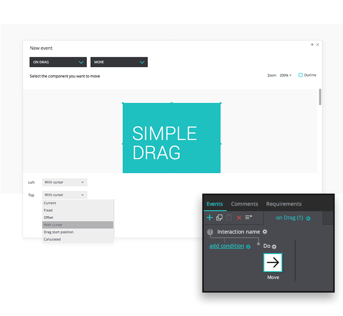 Drag event in interactive prototypes
