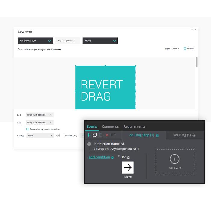 Drop event in interactive prototypes