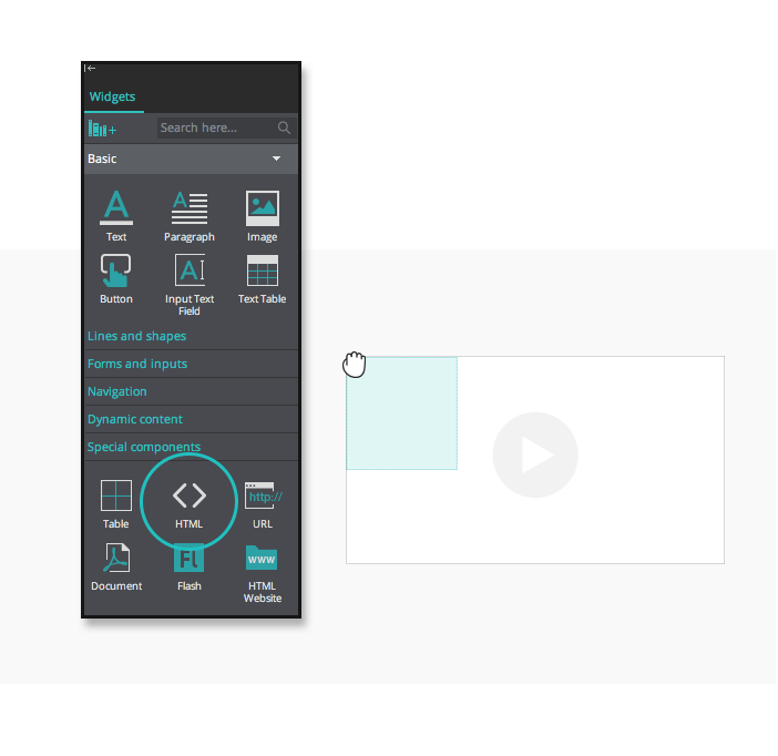 Embed content in interactive wireframes -HTML Widgets