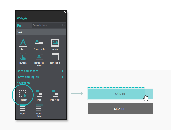 Hotspot widget for your interactive wireframes