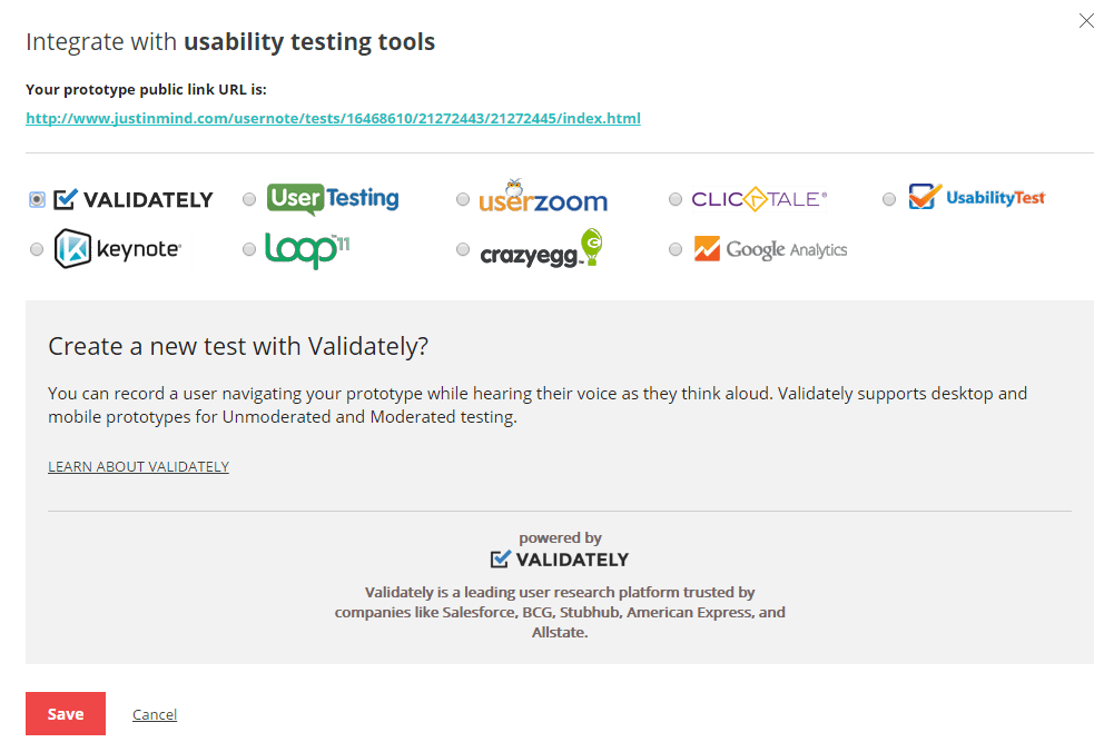 Integrate prototypes with usability testing tools