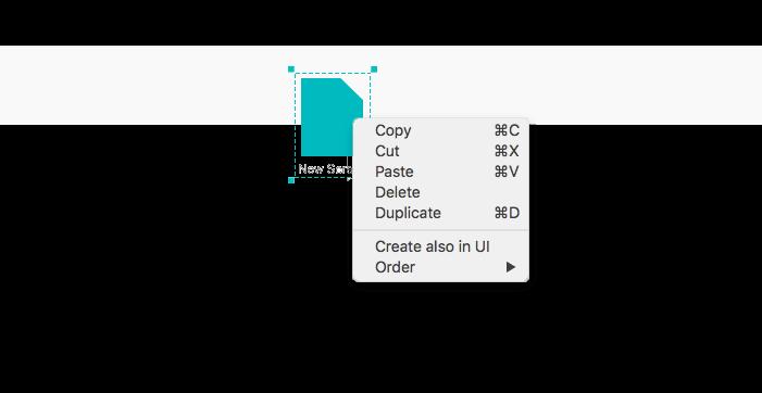 Interactive prototype scenario: contextual menu