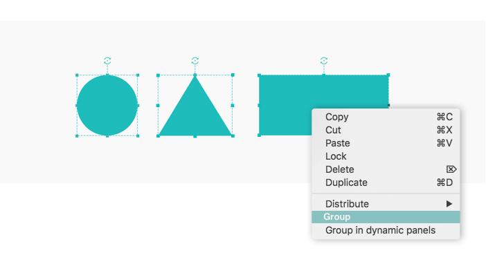 Interactive prototype widgets group example
