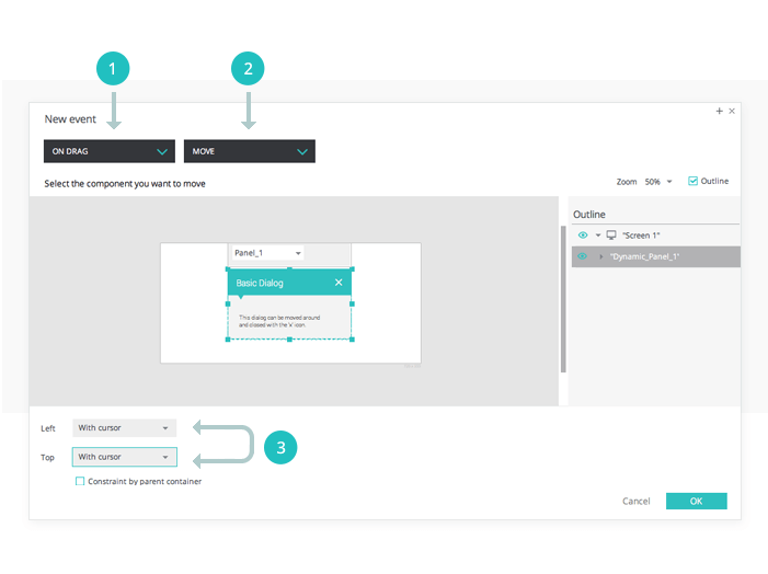 Interactive wireframes: basic dialog pop up events