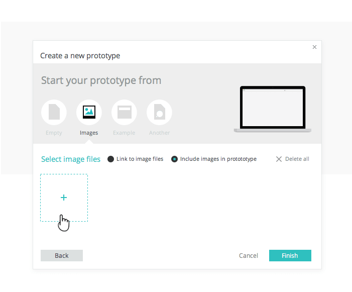 Create interactive wireframes from image files