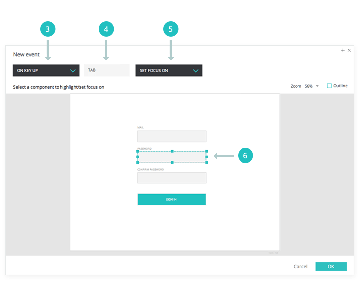 Interactive wireframes: TAB between inputs