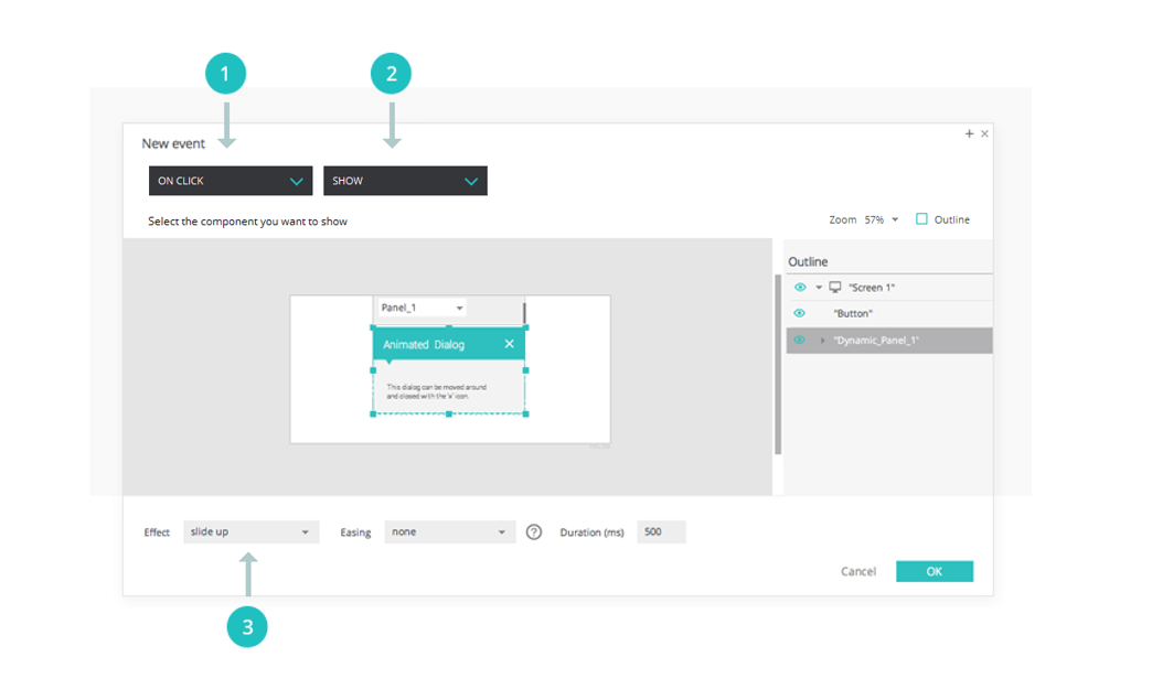 Interactive wireframes: dialogs and pop ups