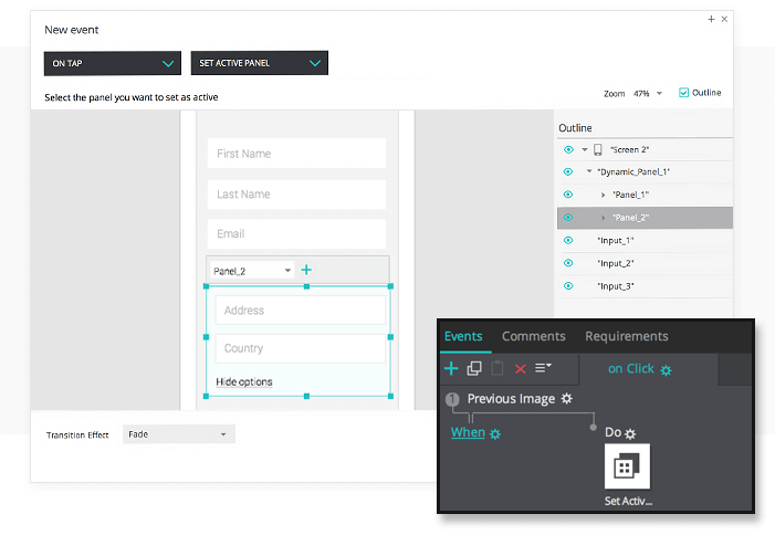 Interactive wireframes: dynamic forms events