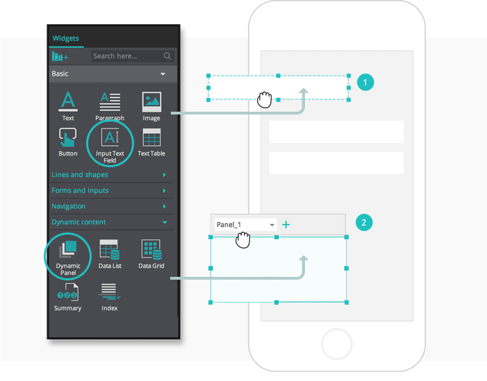 Interactive wireframes: design dynamic forms with pre-built widgets