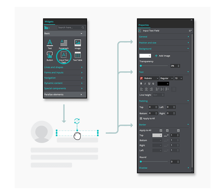 Interactive wireframes transparent input element