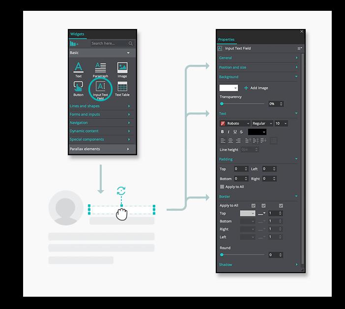 Interactive wireframes transparent input element
