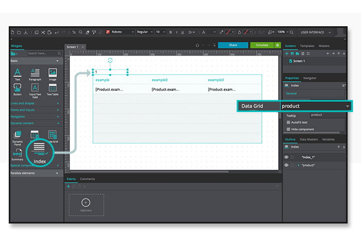 Data-driven prototyping: paginate data table index