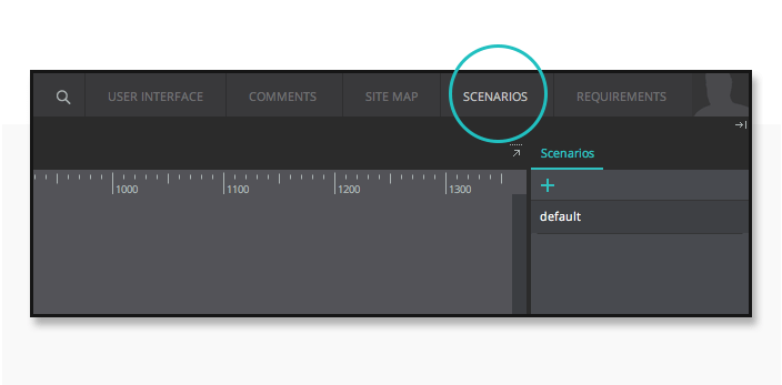 Access the scenario tab from the prototyping tool's UI