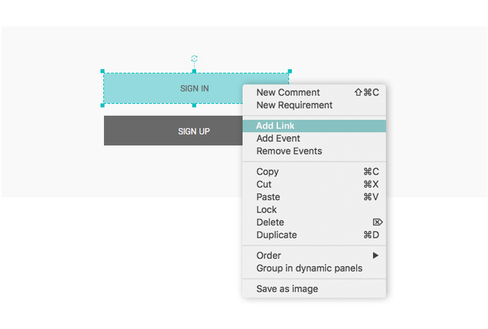 Right-Click to Create links in your interactive wireframes