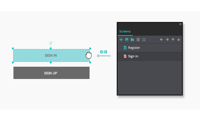 Screen to widget link in your interactive wireframes