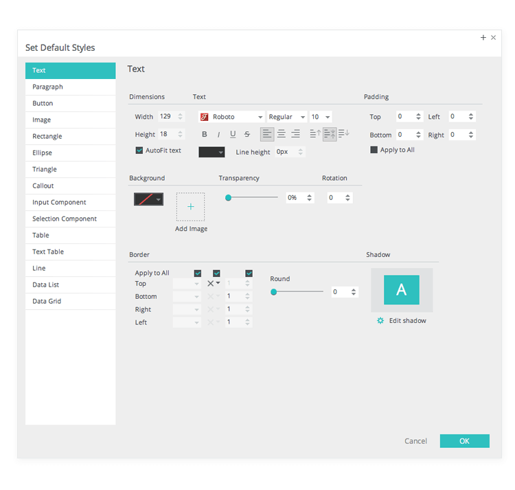 Set default styles in web and mobile prototypes with templates