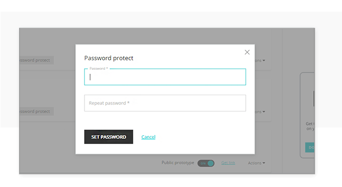Set password for an online prototype