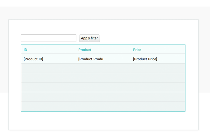 Simulate data searches in UI prototypes: data list
