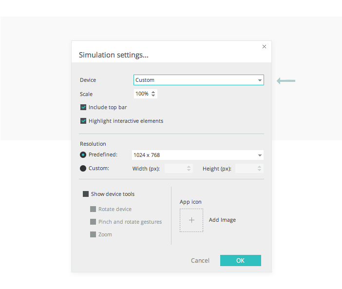simulation-settings-interactive-wireframes