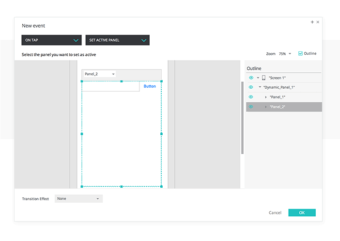 Add a set active panel event to your UI prototype