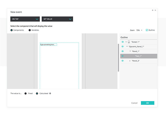 Change Text Value in your UI prototypes. Set value event