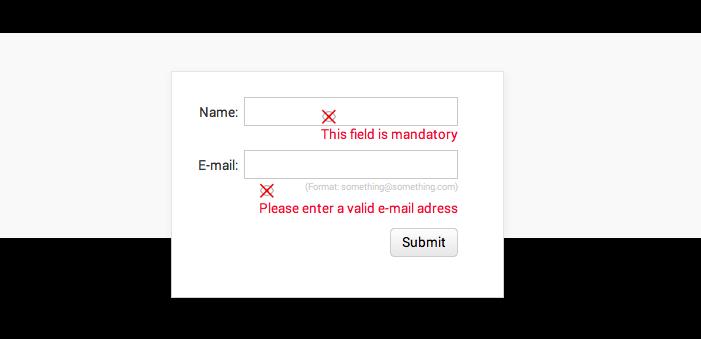 Error messages in UI prototype