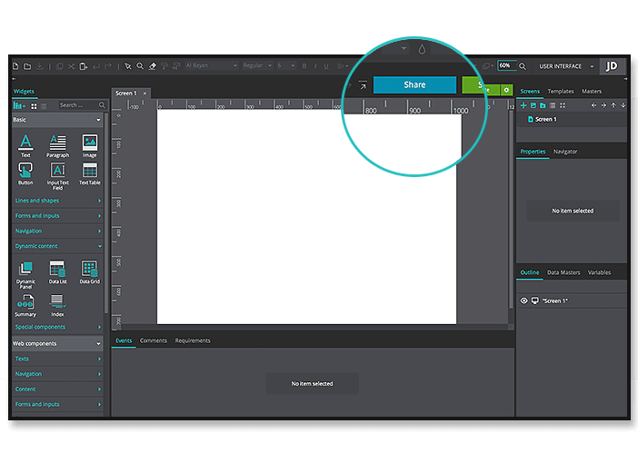 Share your prototypes from Justinmind editor