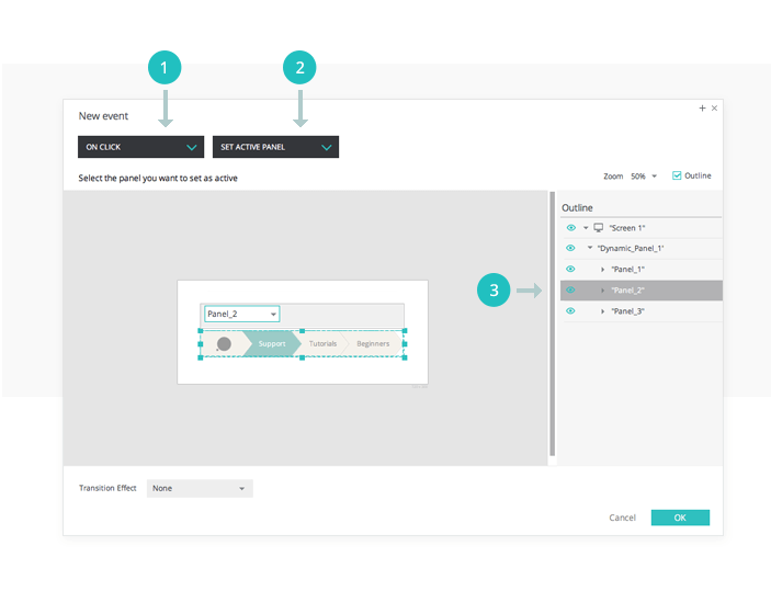 Breadcrumb navigation in your interactive wireframes: events