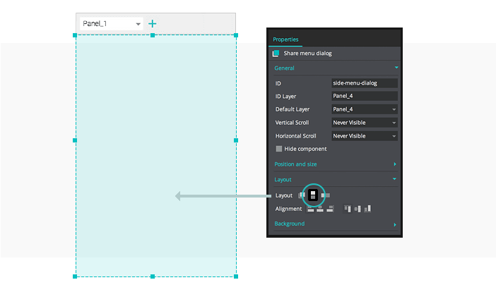 Interactive wireframes: Dynamic Panel