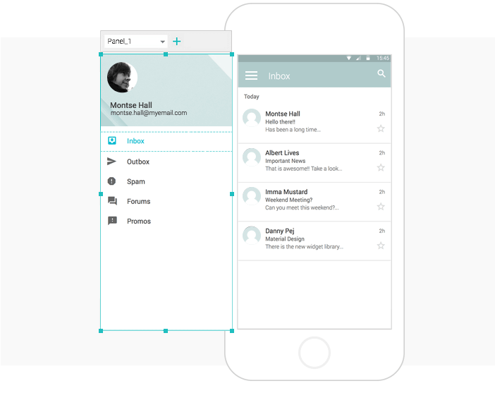 Interactive wireframes Image and text widgets