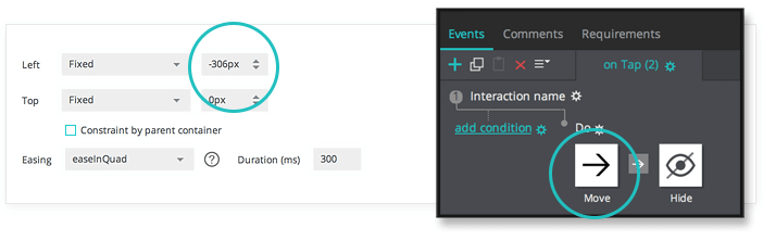 Interactive wireframes Slide panel hide event