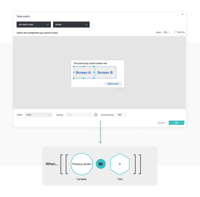 Show event with conditions in your UI prototypes