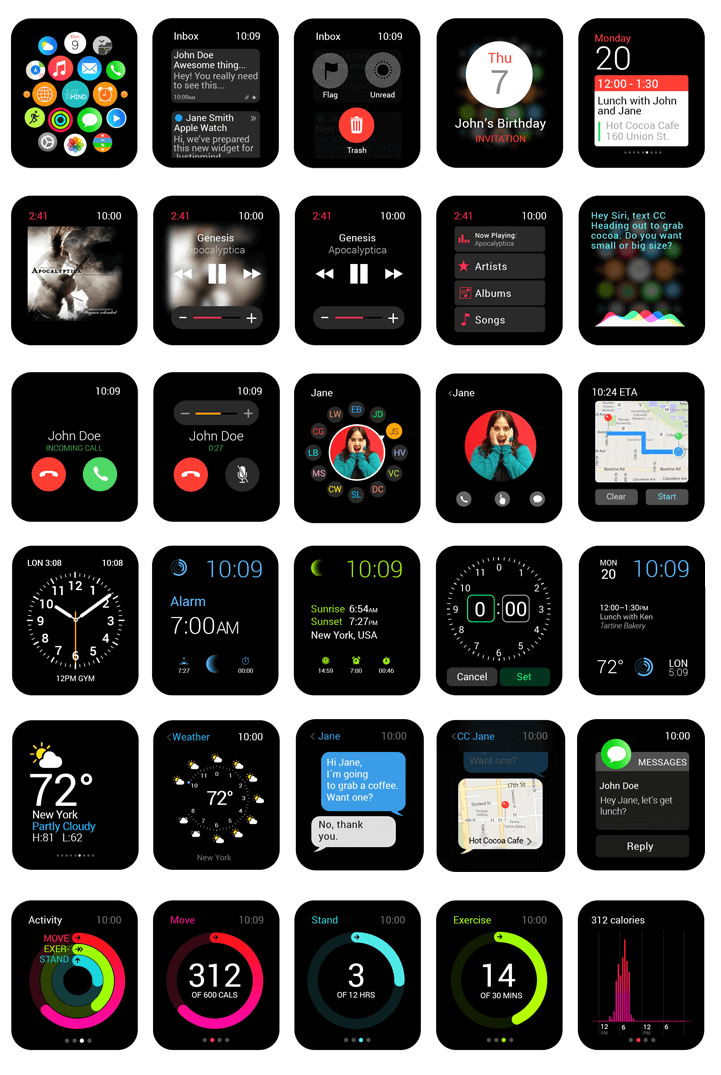 Justinmind Apple Watch Widget Library