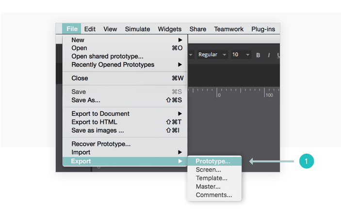 Select the option Export >Prototype from the file menu